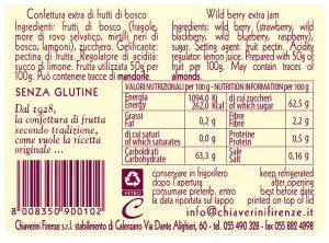 linea classica - colorati - marmellata frutti di bosco - valori nutrizionali