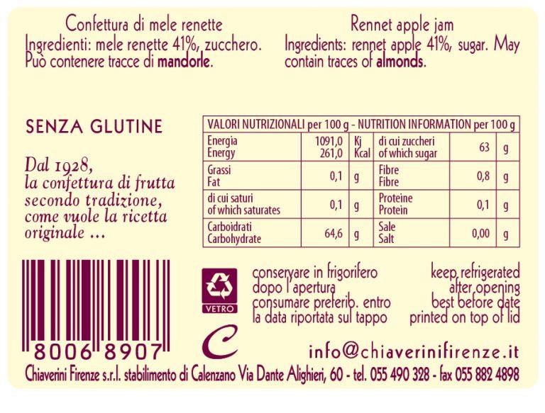 linea classica - colorati - marmellata mele - valori nutrizionali