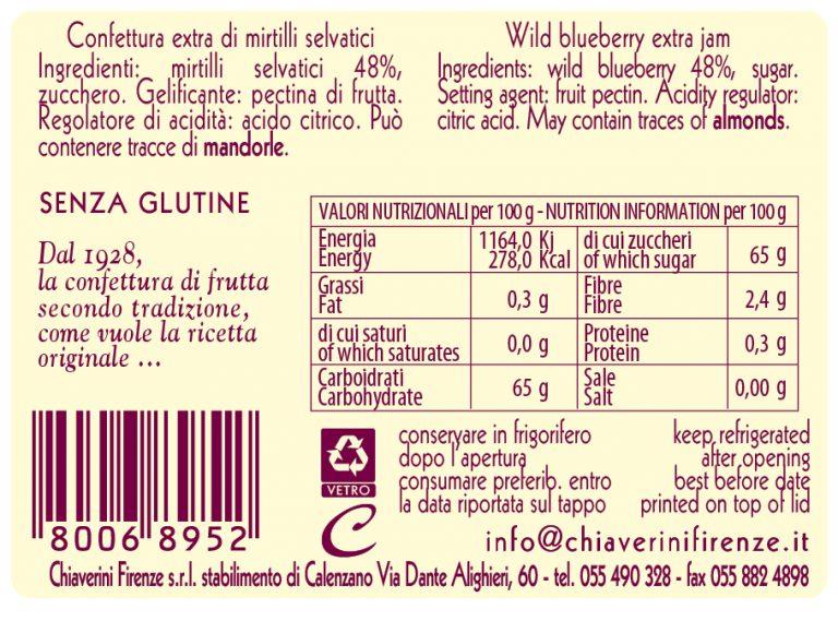 linea classica - colorati - marmellata mirtilli - valori nutrizionali