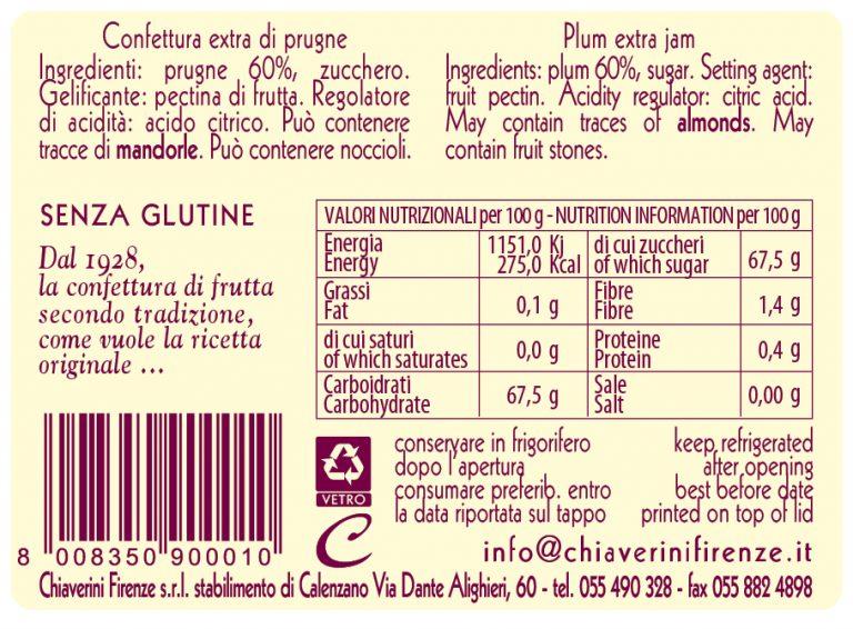 confettura prugne in vetro - valori nutrizionali